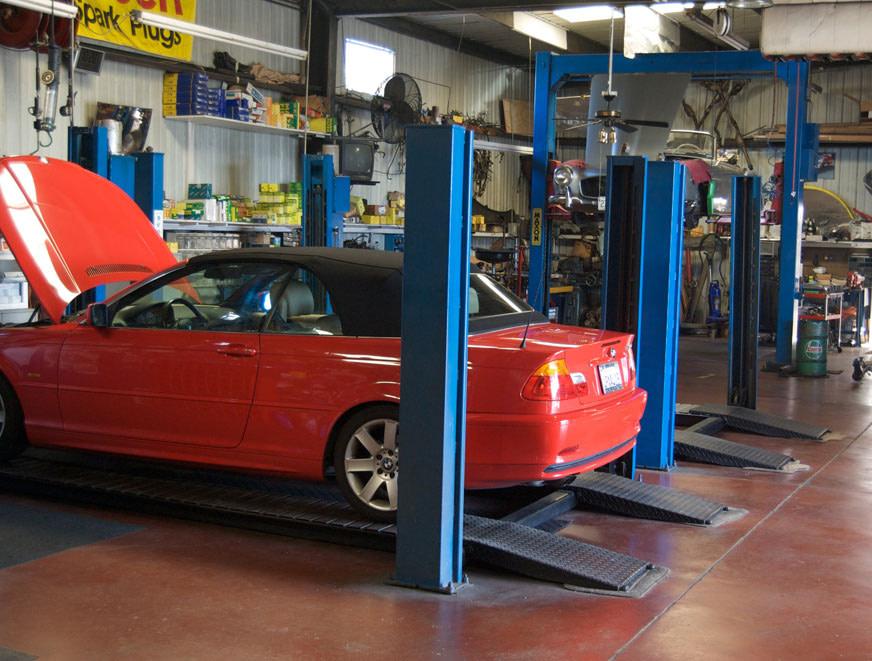 Inside the main auto shop
